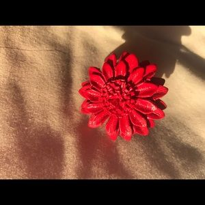 Jewelry - Red leather flower ring
